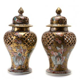 Pair Of Japanese Imari Reticulated Covered Jars, 19th