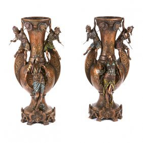 Pair Of Large Cold Painted Patinated Bronze Urns In The