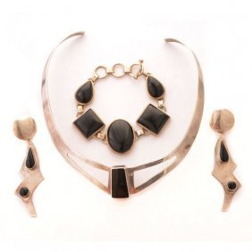 Mexican Black Onyx, Sterling Silver Jewelry Suite.