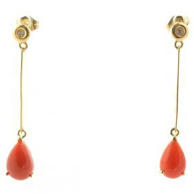 *pair Of Coral, Diamond, 14k Yellow Gold Earrings.