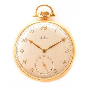 Elgin De Luxe 14k Yellow Gold Open Face Pocket Watch.