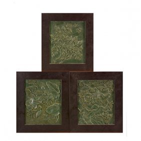 Three Carved Spinach Jade Wall Panels, 20th Century