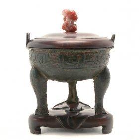 A Ritual Bronze Tripod Vessel, Possibly Spring & Autumn