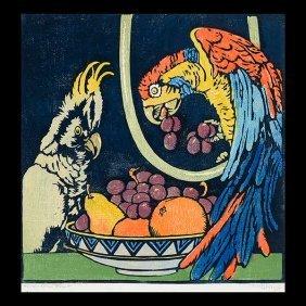 "William S. Rice ""forbidden Fruit"" Woodblock Print."