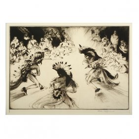 """Etching """"indian Friendship Dance"""" Signed Lower Right,"""