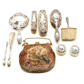 Wallace Sterling Lily Pattern Dresser Set And Hand Bag