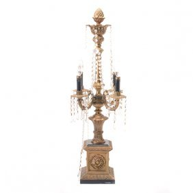 Gilt Bronze Four Light Electrified Candelabra