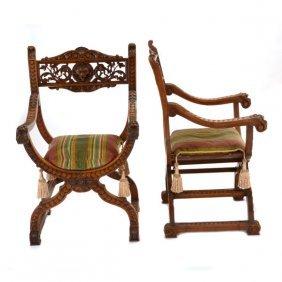 Pair Of Italian Renaissance Revival Savonrola Chairs