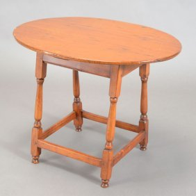 Queen Anne Cherry Oval Top Tavern Table With Horizontal