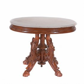 Renaissance Revival Marble Top Center Table