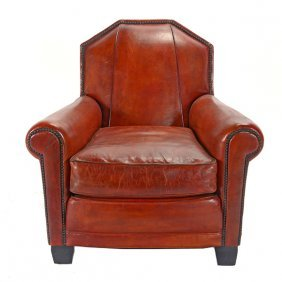 Art Deco Style Leather Upholstered Club Chair