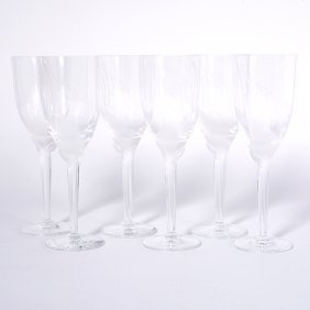 Suite Of Six Lalique Glass Angel Champagne Flutes