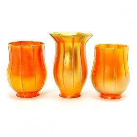Three Quezal Iridescent Ribbed Glass Shades