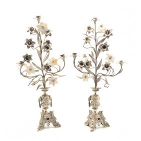 Pair Of Louis Xvi Style Silvered Bronze Floriform