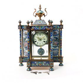Chinese Export Gilt Metal Cloisonn Enamel Clock
