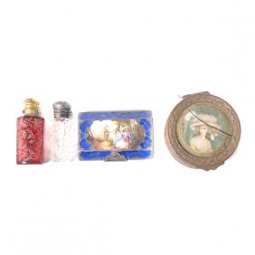 Continental Enameled Compact, French Box With Lady, And