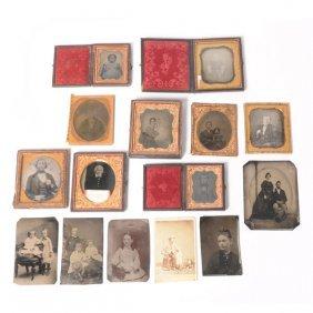 Fourteen Daguerreotypes Tintype Photographs And A Carte