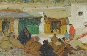 Grace Ravlin (1885-1956) Moroccan Scene, Oil On Boa