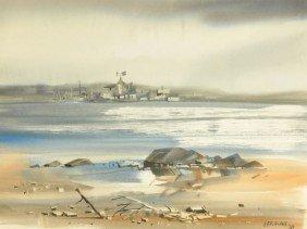 Fred Leach (20th Century) Harbor Scene, Watercolor,