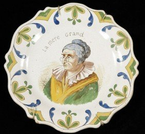 A French Faience Tin Glazed Portrait Plate Titled ""