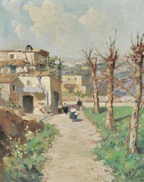 Andrea Fortini (Italian, 1902-1977) Village Scene,