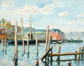 John Nesta (20th Century) Harbor Scene, Oil On Boar
