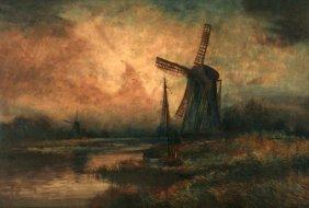 Henri De Le Coeuillerie (19th Century) Windmill Sce