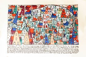 Howard Finster (1916-2001) Elephant, Silkscreen,