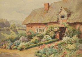 Maud Hollyer (Fl.1900-1910) English Cottage With Ga