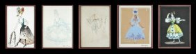 A Group Of Five Framed Costume Illustrations,