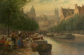 Jan Hinrick (19th Century) Dutch Canal Scene With Fl