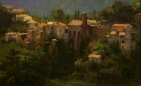 Kim English (b. 1957) Village Mountain Scene, Oil On