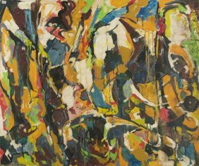 Nate Dunn (1896-1983) Abstraction, Oil On Board,