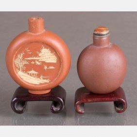 Two Yixing Stoneware Snuff Bottles On Carved Hardwood