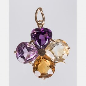 A 14kt. Yellow Gold And Multi-colored Stone Pendant,