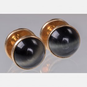 A Pair Of 14kt. Yellow Gold And Tiger's Eye Cufflinks.