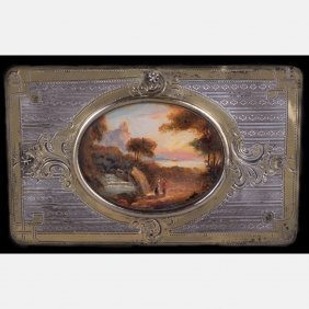 A Continental Silver And Gilt Plaque With Painted