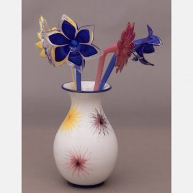 A Group Of Murano Glass Flowers In An Earthenware Vase,