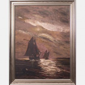 Artist Unknown (19th/20th Century) Moonlit Seascape,