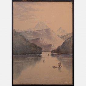 Theodore J. Richardson (1855-1914) Lake Scene With