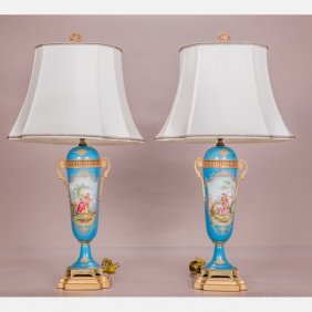 A Pair Of Sevres Style Porcelain Table Lamps, 20th