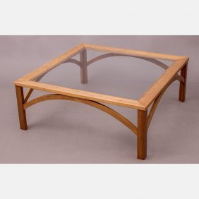 A Contemporary Cherry And Glass Low Table, 20th