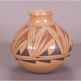 A Mata Ortiz Pottery Vase By Amalia Mora, 20th Century.