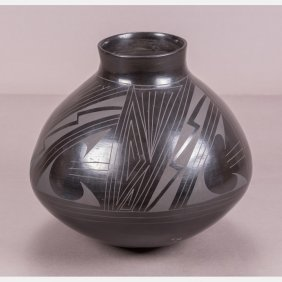 A Santa Clara Pottery Vase By Julio Silveira, 20th
