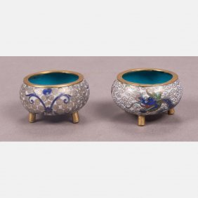 A Pair Of Chinese Cloisonn Salts, 20th Century.