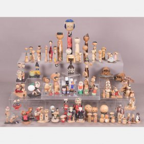 A Collection Of Japanese Vintage Kokeshi Dolls, Showa