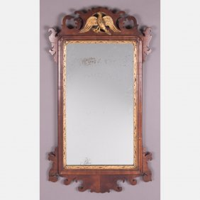 A Chippendale Style Carved Mahogany Mirror, 19th