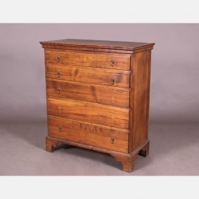 An American Stained Pine Chest Of Drawers, 18th