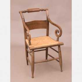 A Federal Style Maple Armchair With Rush Seat,