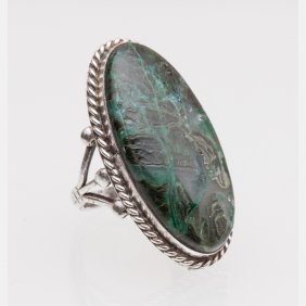 A Silver And Malachite Ring.